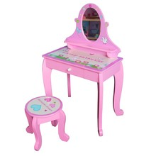 Lovely Pink Wooden Girl Dressing Table With Stool In Acrylic Mirror, Easy Assembly Kids Furniture