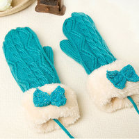 new style hang neck thick cashmere fingerless women knit glove with butterfly ornamental