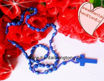 blue wooden religious rosary necklace/wooden bead rosary/10mmsquare bead rosary special offer
