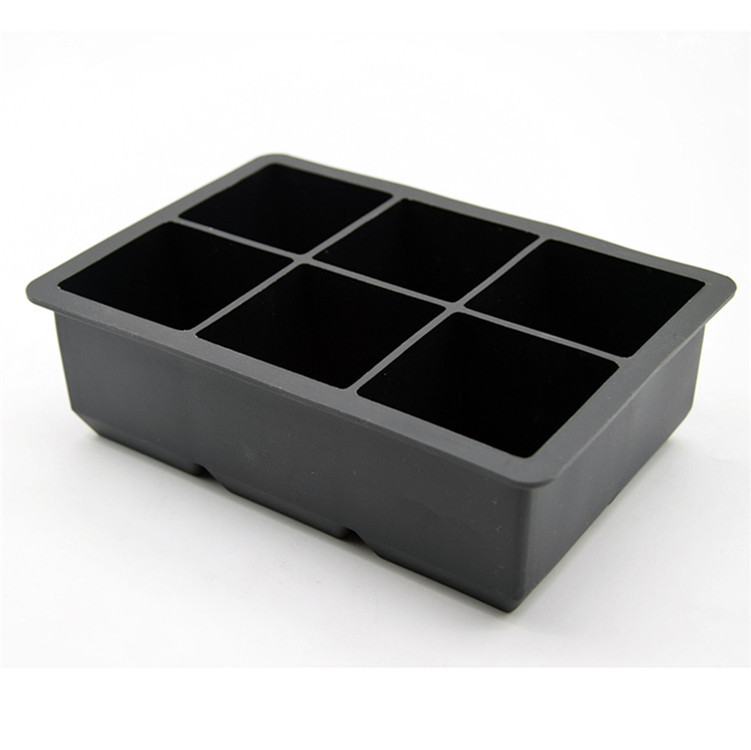 Fancy Large Ice Cube Maker Tray,6 Cavity Square Shape Silicone Ice Cube Tray with Lid