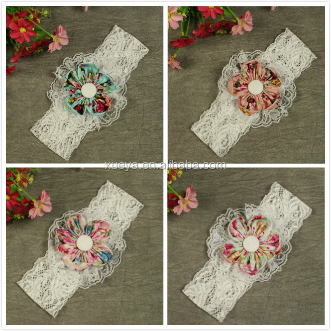 Boutique baby queen baby girls fabric flower headband