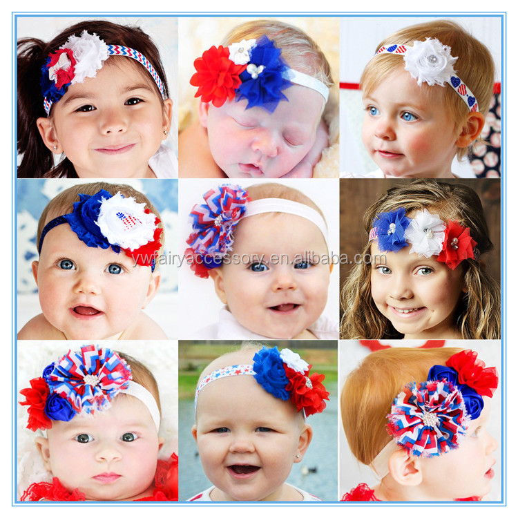 New trendy 4th of July baby girl headband fashion fabric flower headband
