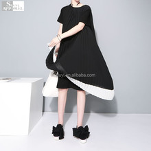 2017 Summer New Elegant Pleated Chiffon Maxi Dresses Spliced Women T-shirt Dress Short Sleeve New Dress Shirt Clothing