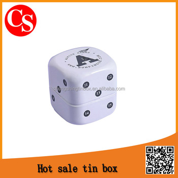 Dominoes square tin box . gift tin box