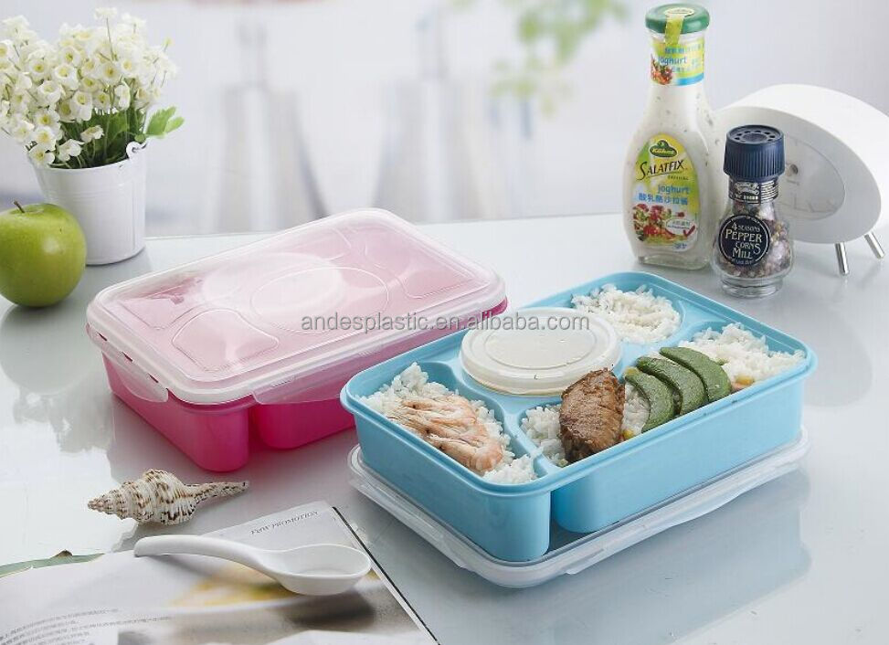 Portable plastic compartments lunch box with soup bowl and spoon for kids