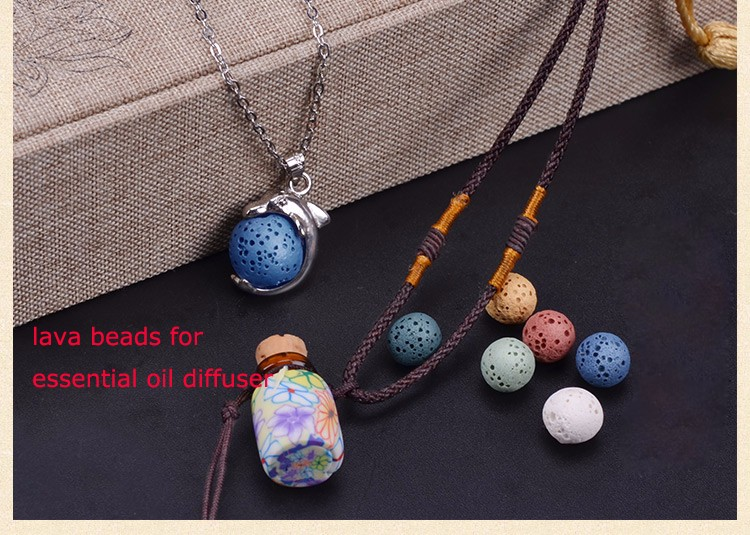 lava stone beads essential oil diffuser necklace