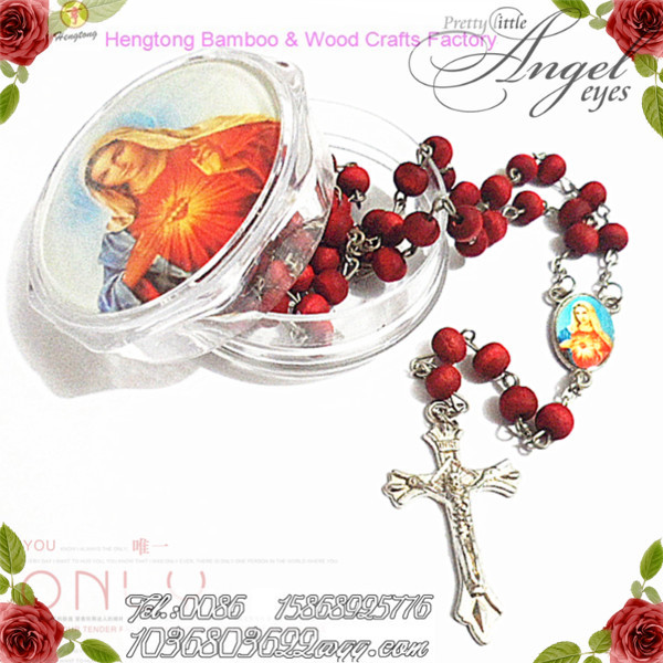7mm pink wooden bead rosary, rose rosary, scent rosary necklace with pope francisco center and cross with plastic box