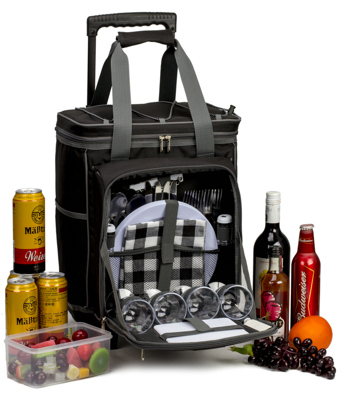 New style hot-selling 4-person trolley picnic bag with non-woven cooler bags