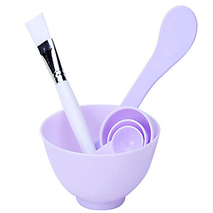 Colorful 4 In 1 Beauty Makeup Plastic DIY Facial Face Mask Mixing Bowl With Mask Brush