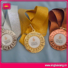 gold plated game graduation sport award medal with ribbon
