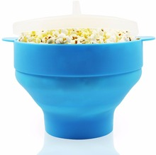 Collapsible Microwave Hot Air Blue Silicone Popcorn Popper Bowl/Maker