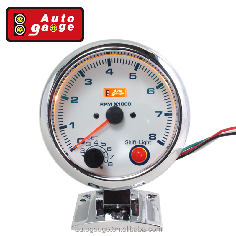 95mm Automobile Tachometer RPM Auto Gauge Meter For Universal Car Silver Face Silver Rim White LED Light