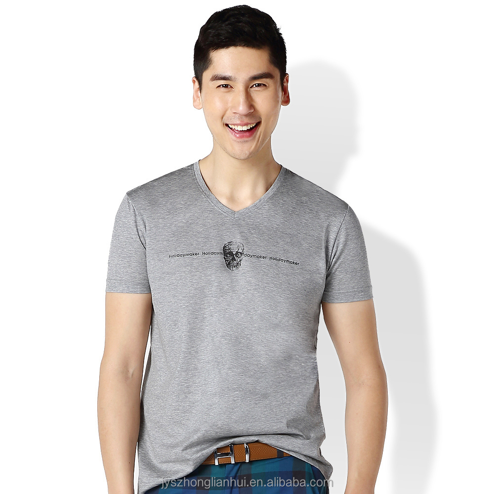 Men grey hottest sale 100% Mercerized cotton v-neck t-shirts