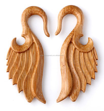 Organic Wood Tribal Ear Hanger Plug Ear Gauges Expander Body Piercing Jewelry