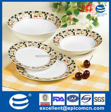 19pcs round kitchen utensils customized porcelain dinner set big rim patterned with fruits