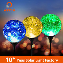 Color changing cheap stick crackle glass ball decoration outdoor lamp post path led solar light garden