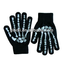 Factory Custom brand bone fluorescent light party for fun noctilucence durable gloves winter warm non-slip gloves
