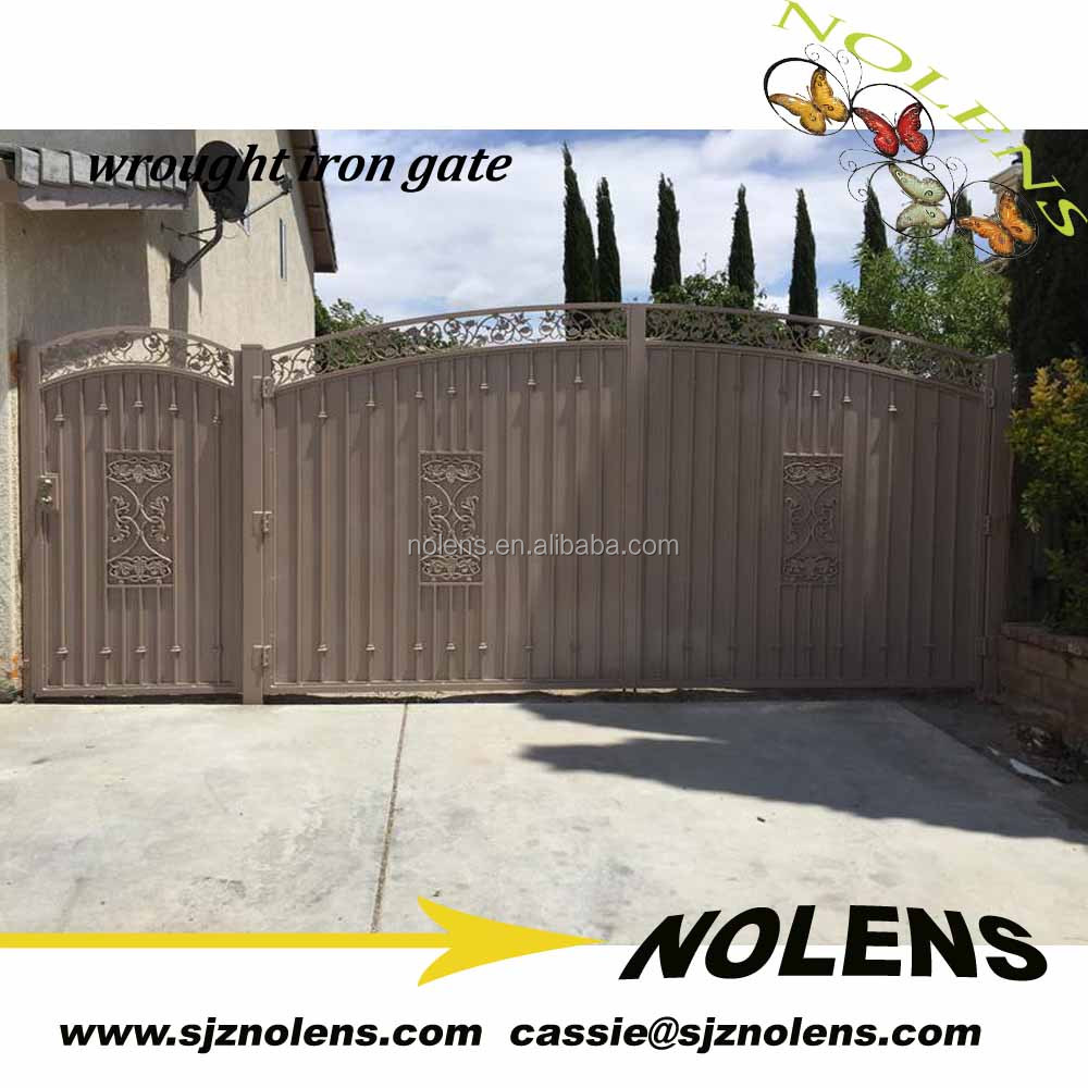wrought iron sliding gate design/huge silding gate/antique wrought iron small fence gate safety metal gate