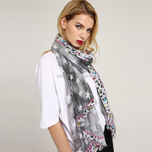 Women star and leopard printed frayed soft scarf