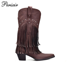 Wholesale China Rubber Sole Pointed Toe Genuine Leather Upper Women Cowboy Tassel Boots Fashion 2017
