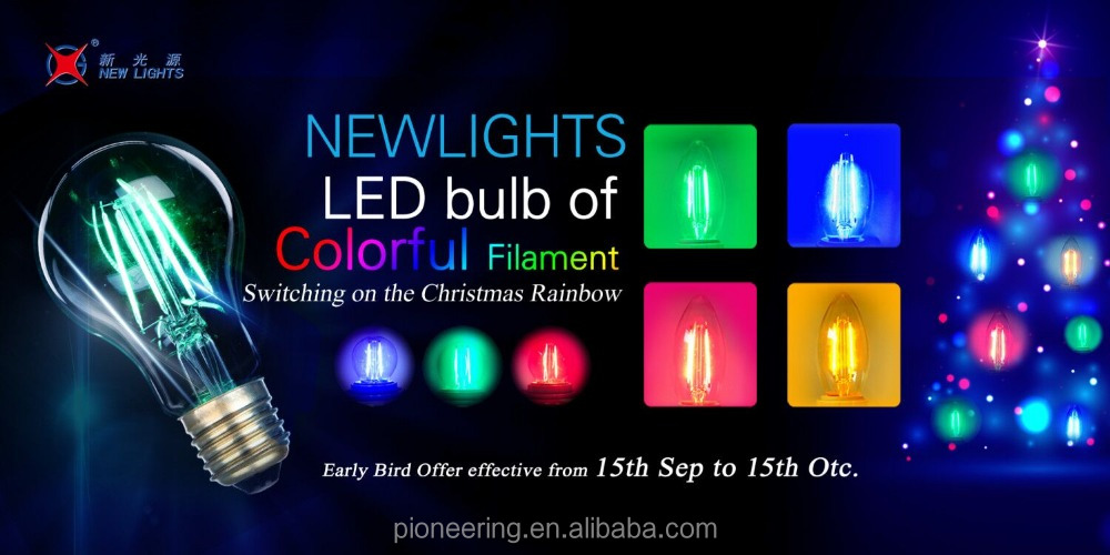 Color Filament Lamp Glass Cover C35 Candle Led Bulb with RGB Light