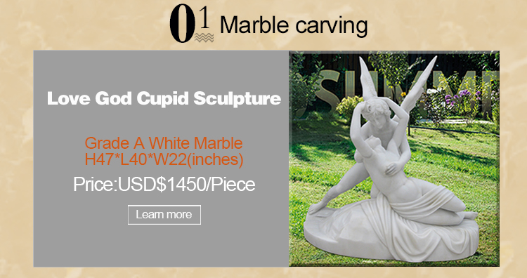 Hand Carved Marble Cupid Angel sculpture