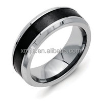 Mens black 2mm ceramic ring inlay with titanium edge