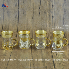 Gold Plated Turkish Tea Glasses with Holders Ottoman Arabic Gift Set
