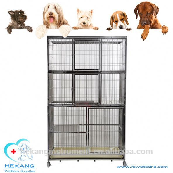 Made in China vet stainless steel three layer pet cage with removable tray