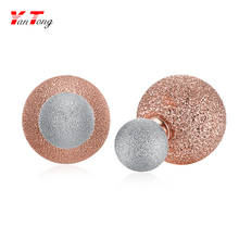 Dull Polish Rose Gold and White Gold Jewelry Double-sided Stud Earrings