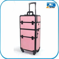 Professional cosmetic pink aluminum trolley makeup case, beauty case trolley