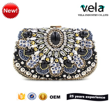 Alibaba China Supplier OEM Rhinestone Women Evening Box Clutch Bag Clear Crystal Beaded Wedding Party Clutches