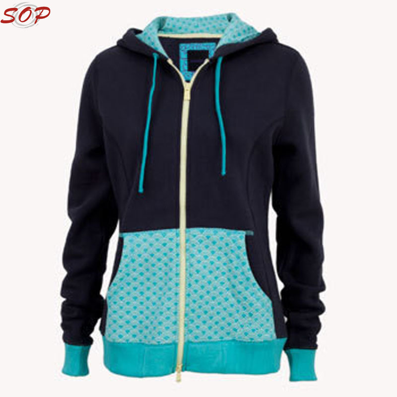Spring women fashion leisure zipper sweat fleece custom hoodies