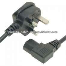 UK plug power cords to IEC C13 Right Angled