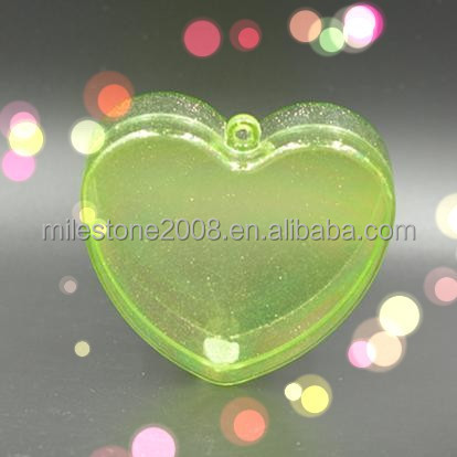 GPPS Fillable Transparent Green Heart Shape Candy Container Jewel Box Jewelry Storage Case