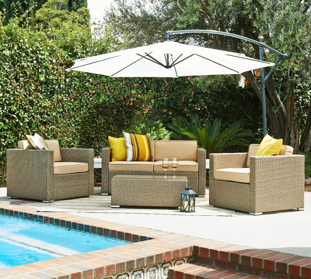 outdoor Alu. frame flat wicker woven garden sofa set furniture
