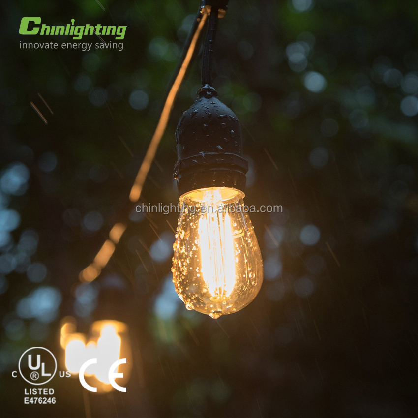 Vintage 48-Ft Outdoor Commercial LED String Lights with 15 Suspended Sockets and 15 Clear S14 Bulbs, 14 Gauge Black Cord