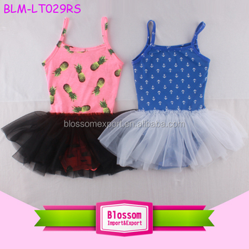 Girls' Camisole Dance Blank Tutu Dress Leotard 2017 Wholesale Floral Printed Toddler Baby Ballet Leotards With Tulle Skirt