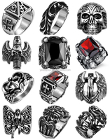 big size exaggerate skull black 316L stainless steel ring