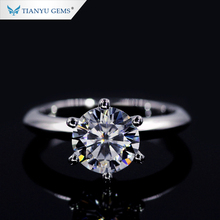 Tianyu gems New Style Foreverone 8 hearts and arrows round brilliant cut super white 2 carat moissanite diamond ring