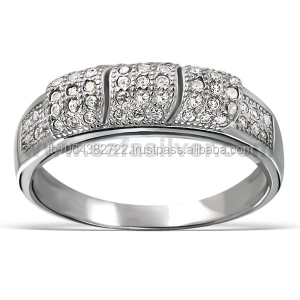 Tiny Gems Clear Stones Cubic Zirconia Rhodium Plated Micro Pave Band Rings Unisex Simple Fashion Jewellery