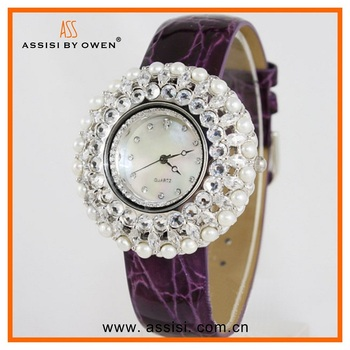 Assisi newest high quality pearl white japan movement quartz watch,leather band, Geneva watch genuine leather band