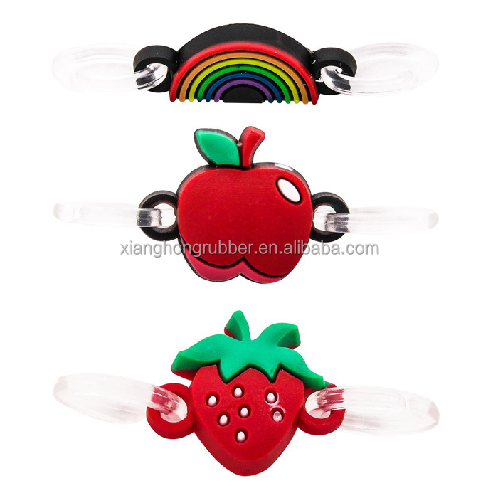 Rainbow, Apple and Strawberry Charm Pendant Cute Silicone Double Loop Dangle Charms