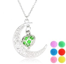 Luminous Hollow Moon Heart Fashion Diffuser Necklace Changeable Pads Jewelry For Women