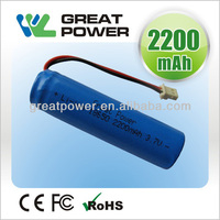 UN38.3 approved lithium ion battery rechargeable mod 18650 2200mah battery