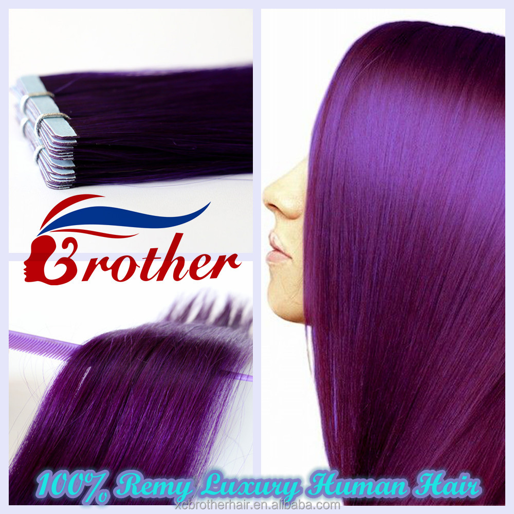 New Fashion Human Hair Extension Purple Color Tape In Hair