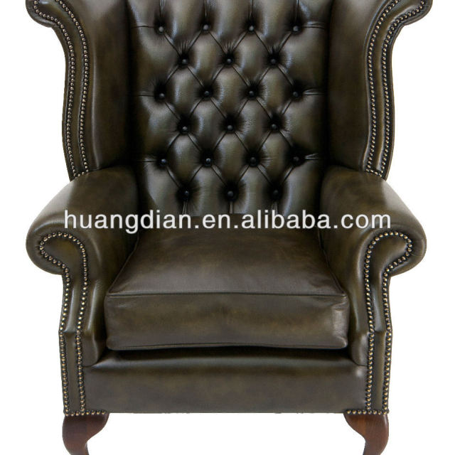 hotel used modern wing back leather chesterfield tufted sofa chair wholesale price