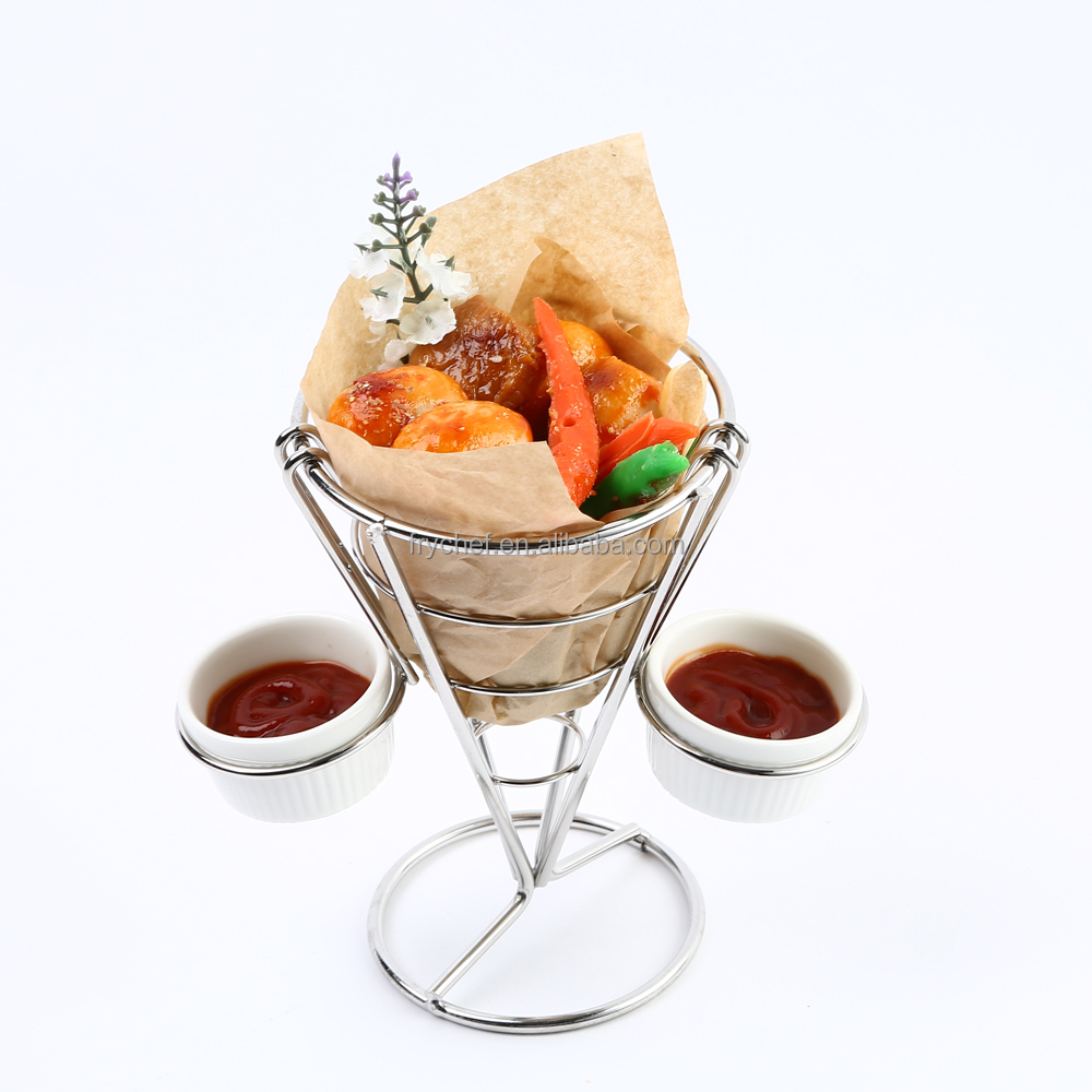 French Fry Holder Modern Design with Ceramic French Fry Cone and Dip Cups on a Stainless Steel Frame Perfect for Fries Chips