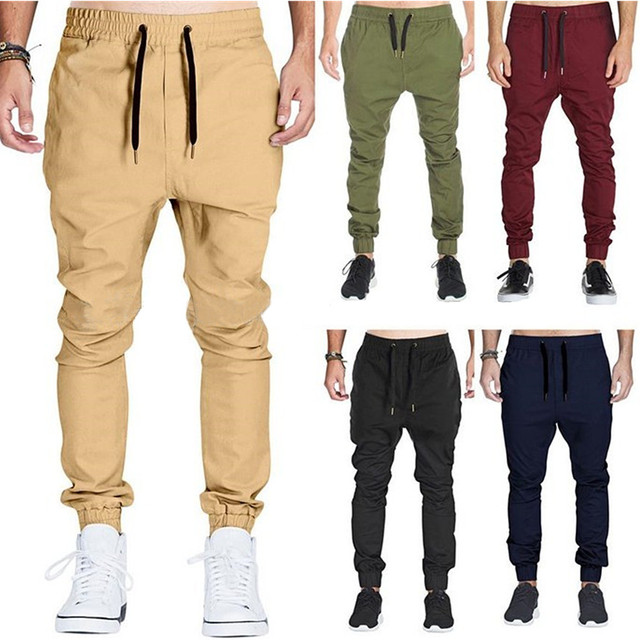 Wholesale Men Twill Chino Cargo Baggy Sweatpants Slim Fit Jogger Pants