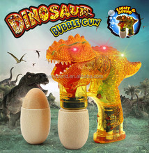 B/O flashing light sound transparent dinosaur gun bubble toy